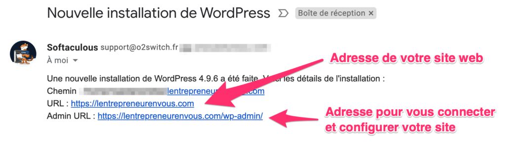 email nouvelle installation wordpress